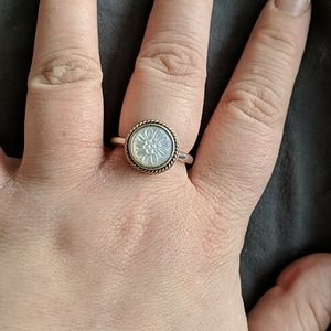 Pandora Two - tone Mother of Pearl Stackable Ring